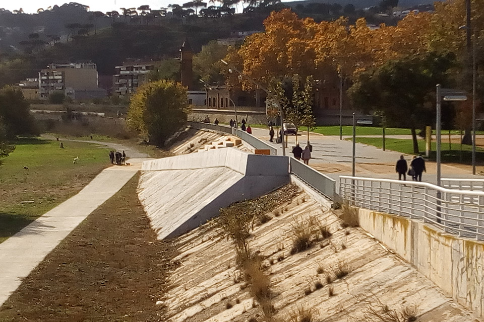 A view of the new concrete ramp installed on the Besos River in Spain