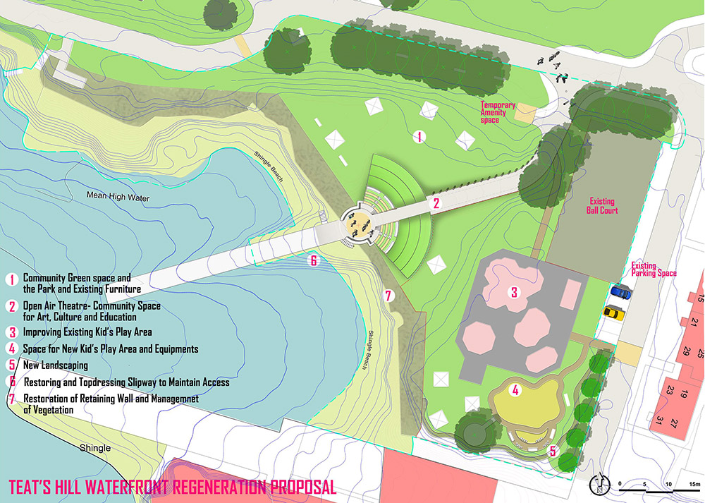 A plan view artist's impression of the developments at Teats Hill
