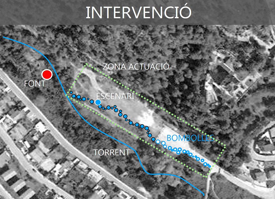 A black and white map of the Can Mortiz area with blue path highlighted