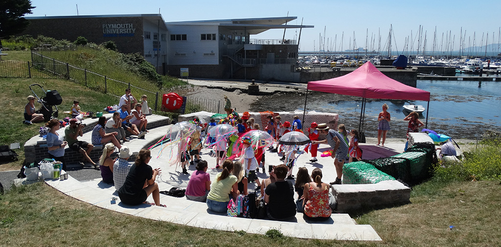 Children play in the new amphitheatre at our Plymouth study site