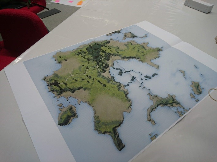 A 2d model of an island on a piece of paper