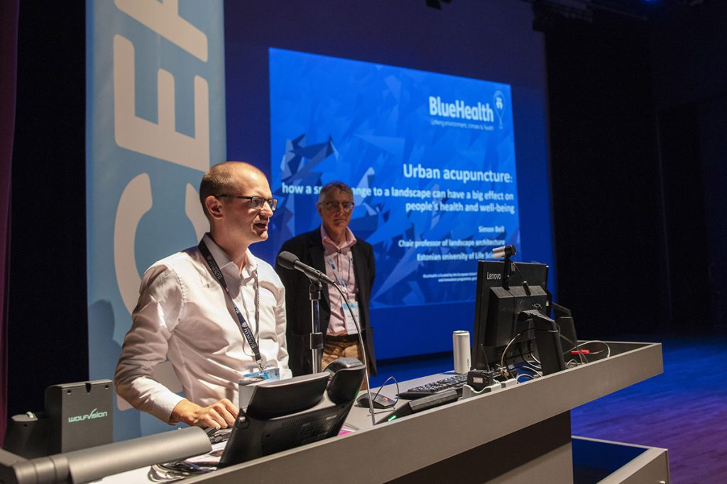 Blue health presentation by Lewis Elliott (left) and Simon Bell (right).