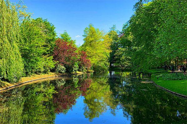Example of a blue space Kuekenhoff Garden, Leiden, Netherlands