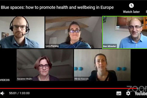 Screenshot of BlueHealth's recent webinar showing four speakers